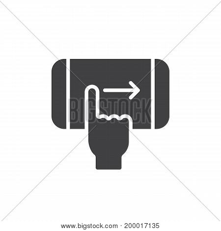 Finger swipe right hand gesture icon vector, filled flat sign, solid pictogram isolated on white. Symbol, logo illustration. Pixel perfect