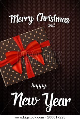 Illustration of Vector Marry Christmass Greeting Card. Realistic Gift Box with Red Ribbon on Kneeted Pattern Background