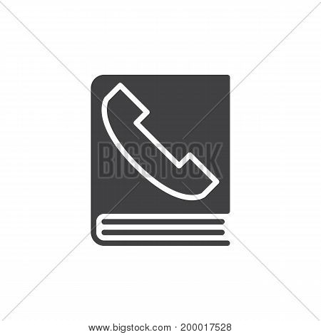 Phone book icon vector, filled flat sign, solid pictogram isolated on white. Symbol, logo illustration. Pixel perfect