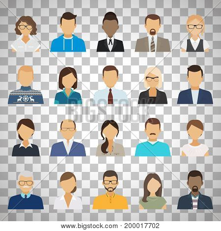 Business people flat avatars. Men and women business and casual clothes icons isolated on transparent background. Vector illustration