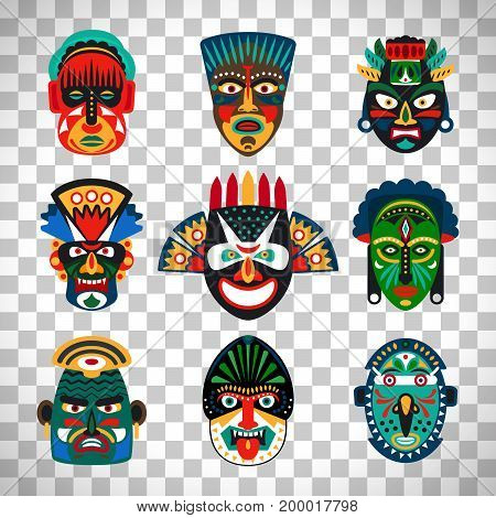 Tribal indian or african colorful masks set isolated on transparent background. Vector illustration