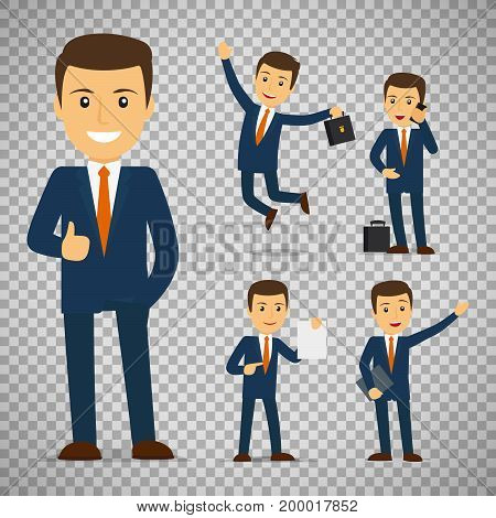 Businessman cartoon character in different poses isolated on transparent background, vector illustration
