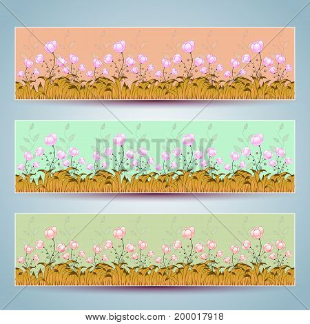Floral banners vector. Beautiful decor colorful design