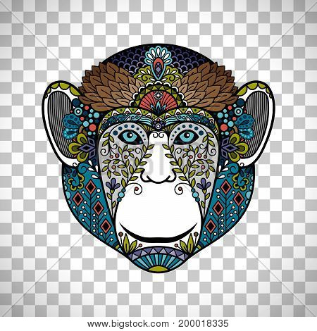 Colorful monkey head totem with ethnic ornament. Hipster monkey head poster isolated on transparent background