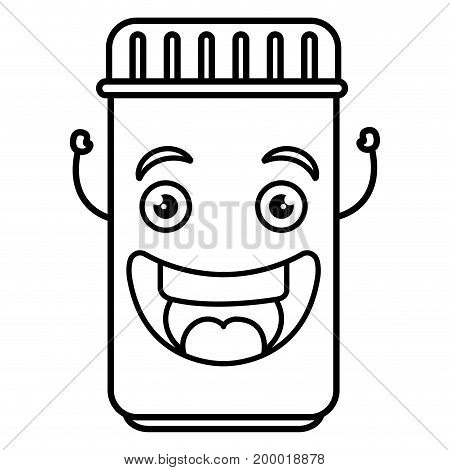 bottle drugs kawaii character vector illustration design