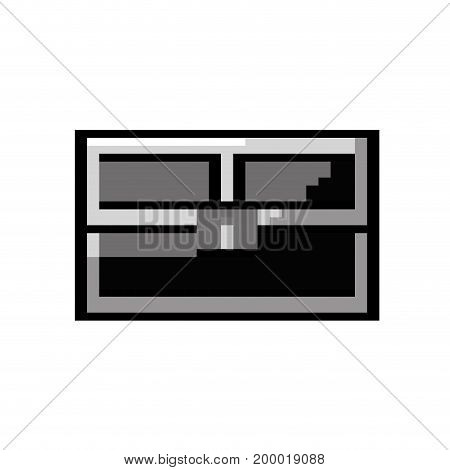 contour video game treasure chest with many gold vector illustration