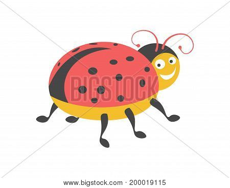 Funny ladybug with black spots on red wings folded at round body, curly antennae, friendly smile and lot of legs isolated vector illustration on white background. Cartoon insect with cute face.