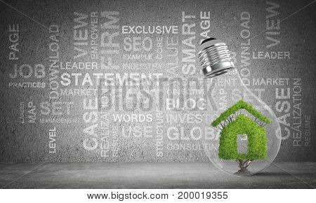 Lightbulb with green natural home inside placed against business related terms on grey wall on background. 3D rendering.