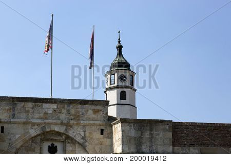 BELGRADE, SERBIA - JULY 31, 2017:Clock Tower in Belgrade Fortress Serbia.