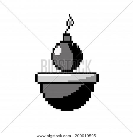 contour nuclear bomb explosion in the platform game vector illustration