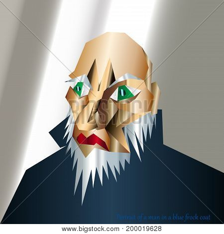 Abstract portrait of a man in a blue frock coat / gradients / green eyes