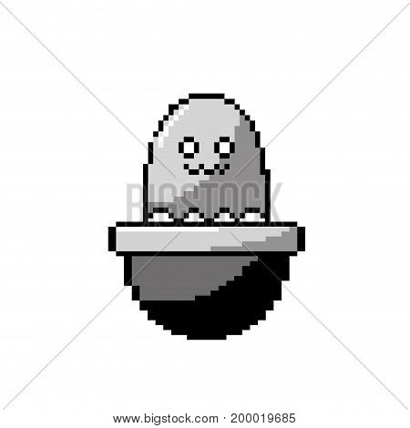 contour video game virtual character in the platform console vector illustration
