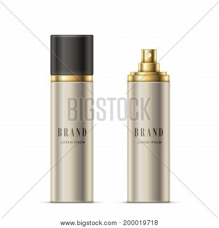 Vector realistic illustration of a spray bottle of silvery color with a golden sprayer and black cap, isolated on white. Open and closed spray bottle for deodorant, perfume, hairspray ready for design