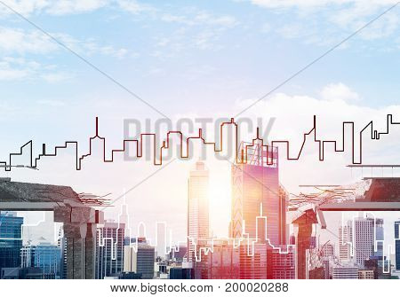 A gap in concrete bridge as symbol of danger and risk with silhouette of cityscape and sunlight on background. 3D rendering.
