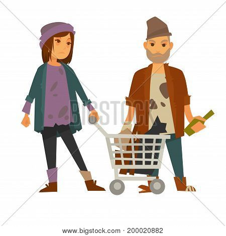 Homeless woman in stained sweater and different color socks with metal cart full of rubbish and drunk man in dirty clothes with glass bottle isolated cartoon vector illustration on white background.