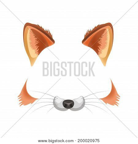 Fox animal face filter template for video chat animated effect or smartphone camera application or cartoon selfie photo mask. Pet animals head ears and nose vector flat isolated icon