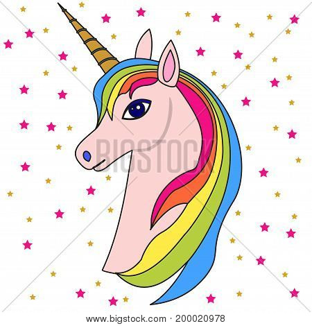 Pink unicorn head with rainbow mane and horn, with stars, isolated on white. Fun cartoon icon design illustration with unicorn in 80s-90s style.