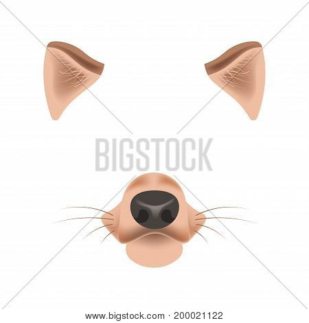 Dog animal face filter template for video chat animated effect or smartphone camera application or cartoon selfie photo mask. Puppy pet or wolf animal head ears and nose vector flat isolated icon