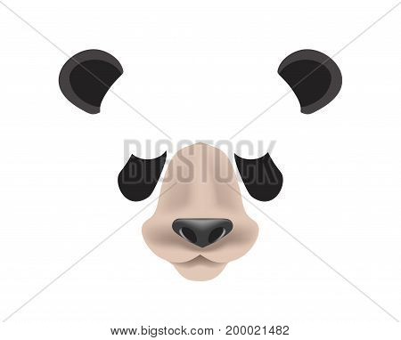 Panda animal face filter template for video chat animated effect or smartphone camera application or cartoon selfie photo mask. Bear pet animals head ears and nose vector flat isolated icon
