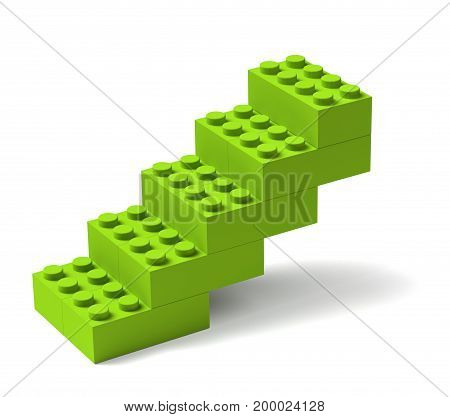 Stairs made of green toy building blocks 3D advance progress growth concept