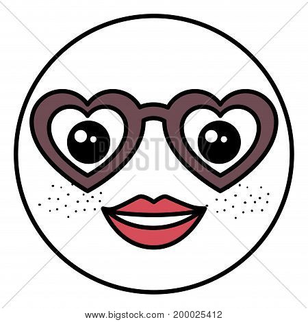 emoticon with glasses kawaii character vector illustration design