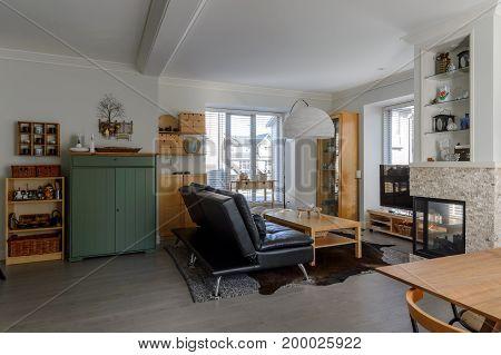 Luxury modern rustic living room. Interior design.