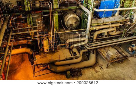 Electric power plant interior view over the tubes