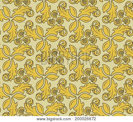 Floral golden ornament. Seamless abstract classic background with flowers. Pattern with repeating elements