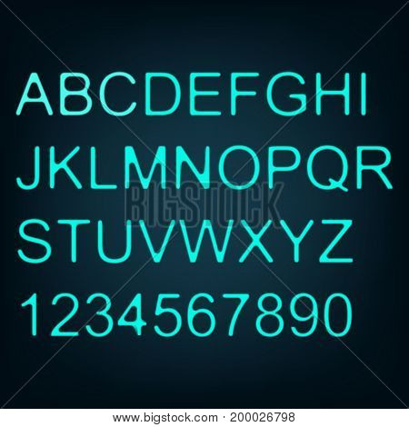 Neon text. Alphabet. Set of letters. Blue. For your design.