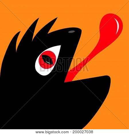 Monster reptile head silhouette with red devil eye tongue. Cute cartoon funny character. Black color. Baby collection. Isolated. Happy Halloween card. Flat design. Orange background. Vector