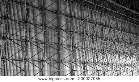 Industrial background inside electric power plant metal structure