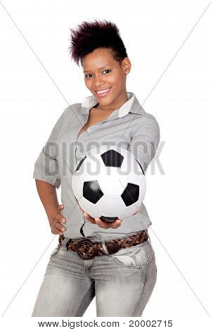 Exotic African Girl With A Soccer Ball
