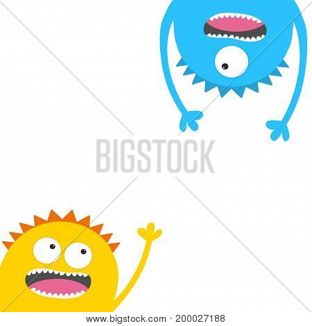 Screaming monster head silhouette set. Eyes teeth tongue waving hands. Hanging upside down. Funny Cute cartoon character. Baby collection. Happy Halloween card. Flat design White background. Vector