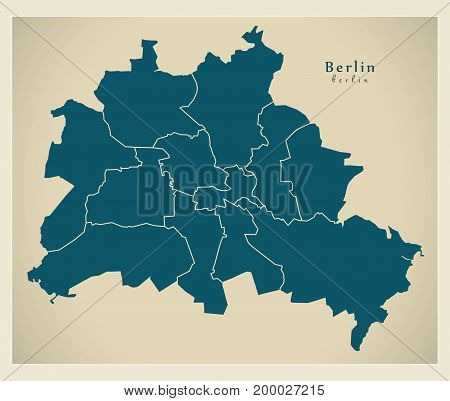 Modern City Map - Berlin City Of Germany With Boroughs De