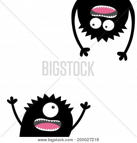Screaming monster set. Head silhouette. Two eyes teeth tongue hands. Hanging upside down. Black Funny Cute cartoon character. Baby collection. Happy Halloween. Flat design. White background Vector