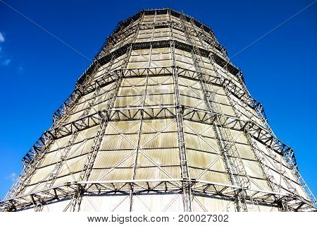 Water cooling tower with blue sky background