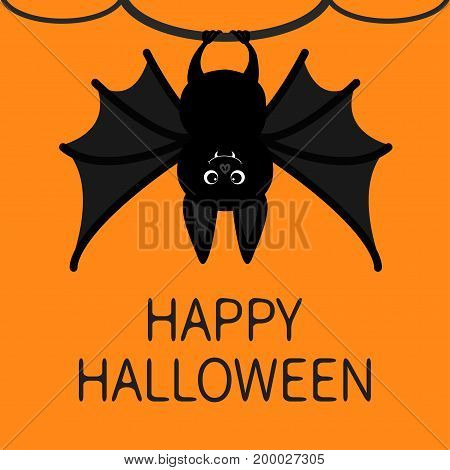 Bat hanging on the tree ring. Happy Halloween card. Cute cartoon character with big wing ears and legs. Black silhouette. Forest animal. Flat design. Orange background. Isolated. Vector illustration