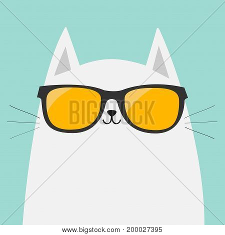 White cat wearing orange sunglasses eyeglasses. Yellow lenses. Cute cartoon funny character. Kitten in eyeglasses. Fashion animal. Blue background. Isolated. Flat design Vector illustration