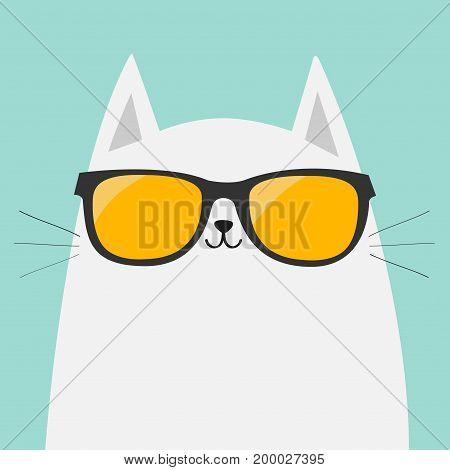 White cat wearing orange sunglasses eyeglasses. Yellow lenses. Cute cartoon funny character. Kitten in eyeglasses. Fashion animal. Blue background. Isolated. Flat design Vector illustration