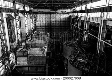Industrial power plant interior view with machinery