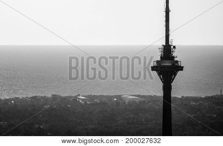 Tv tower with black and white background