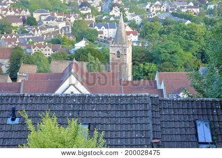 View of the town from Tory neighborhood with the bell tower of Holy Trinity Church in Bradford on Avon, UK