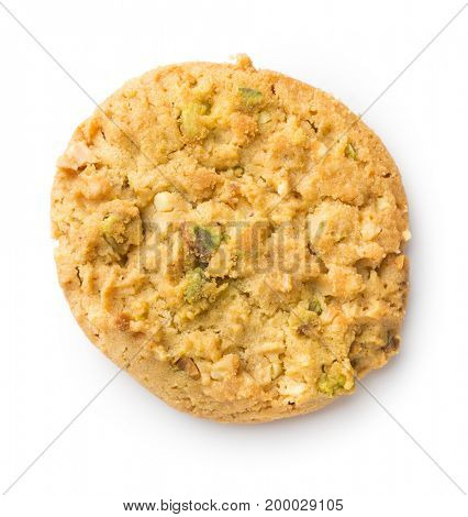 Sweet pistachio cookies isolated on white background. Cookies with pistachio nuts.
