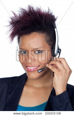 African Girl With Headphone