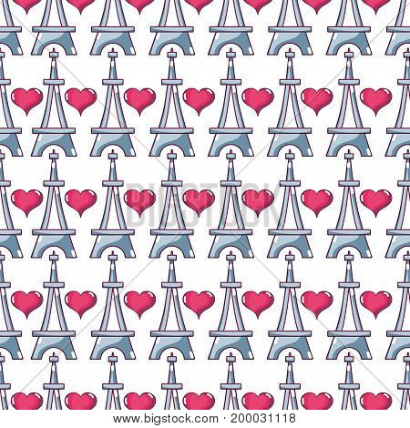 beauty eiffel tower and heart background design vector illustration