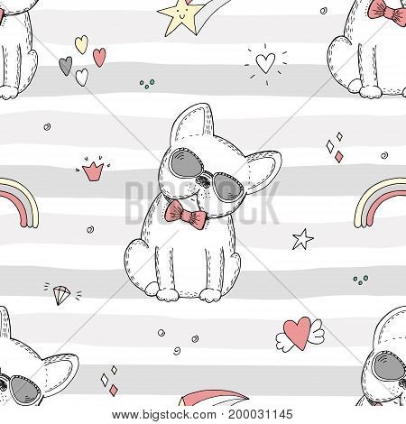 seamless pattern with Black and white vector sketch of a dog. Vector Illustration.