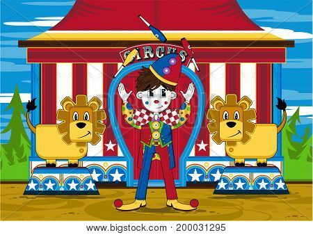 Circus Clown And Lions