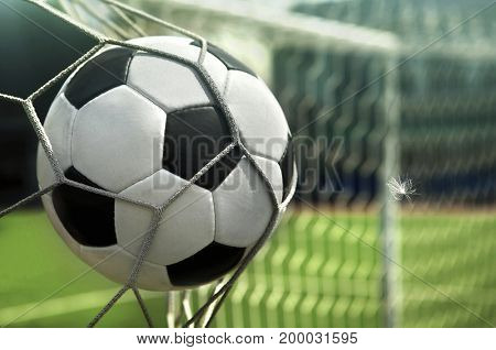 Soccer World Cup. The ball is in the net of the goal. Goal!!!