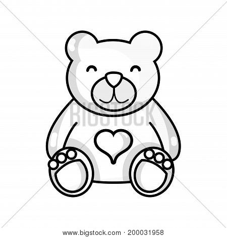 line nice teddy bear toy to game vector illustraton