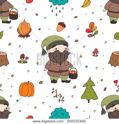 Cute hand drawn seamless pattern with cartoon gnome. Printable templates.